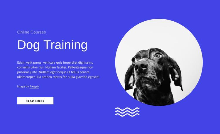 Dog training courses online Website Mockup