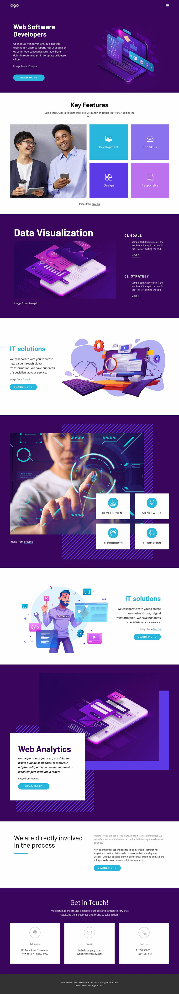 Solutions improve productivity Website Mockup