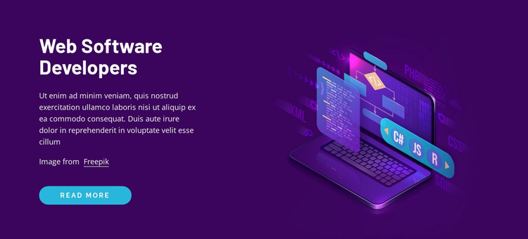 Web software developers One Page Template