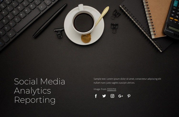 Social media analytics reporting Web Page Designer