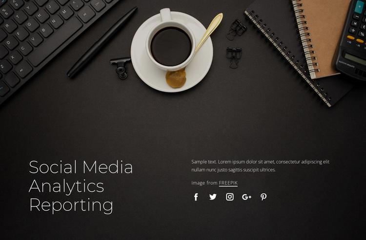 Social media analytics reporting Landing Page