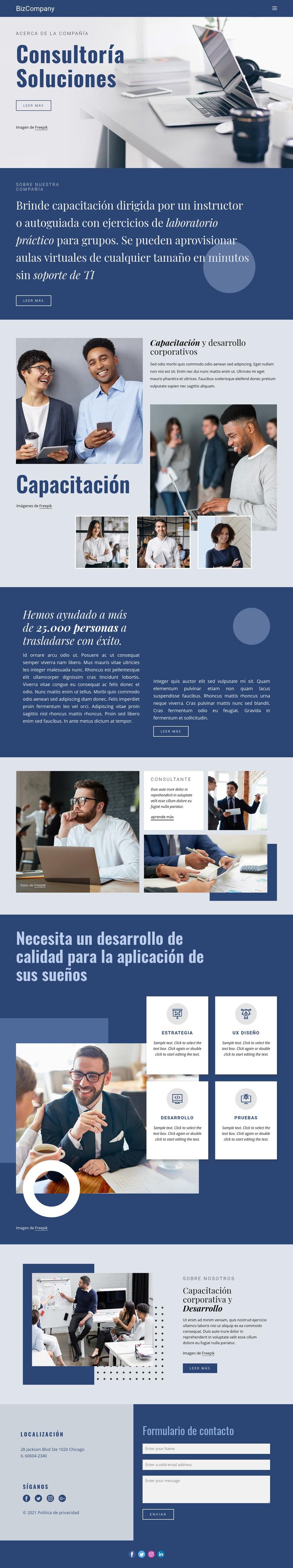 Formación y desarrollo profesional Plantilla de sitio web