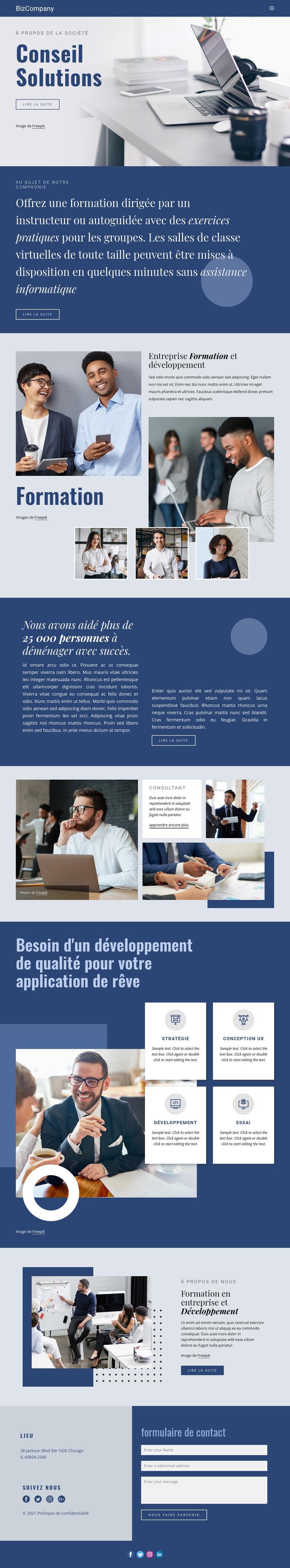 Formation et développement professionnel Modèle de site Web
