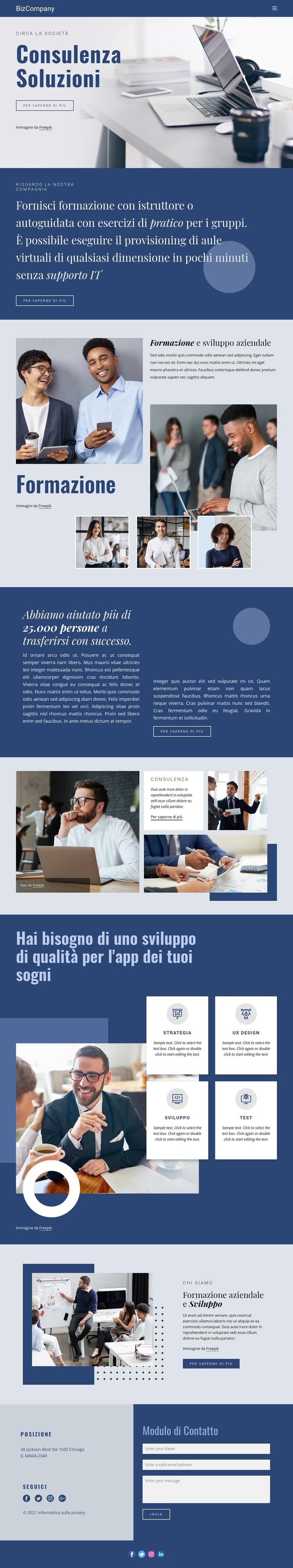 Formazione e sviluppo professionale Modello di sito Web