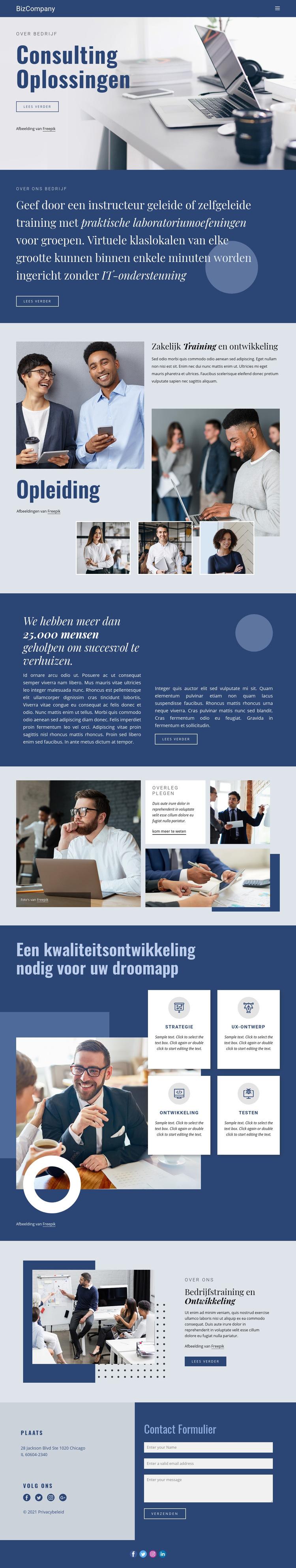 Opleiding en professionele ontwikkeling Website sjabloon