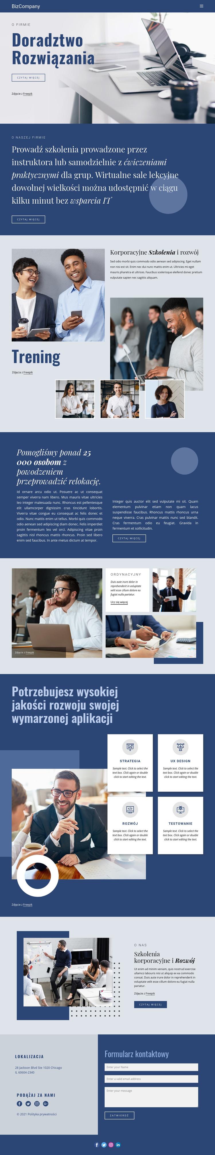 Szkolenia i rozwój zawodowy Szablon witryny sieci Web