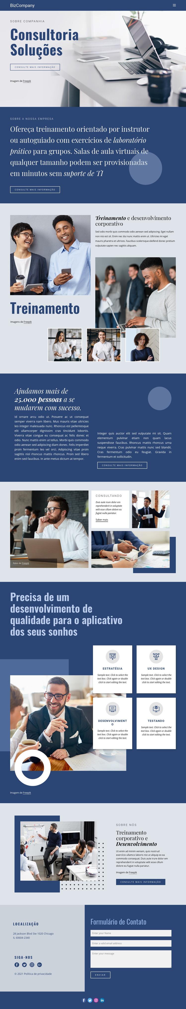 Treinamento e desenvolvimento profissional Modelo de site