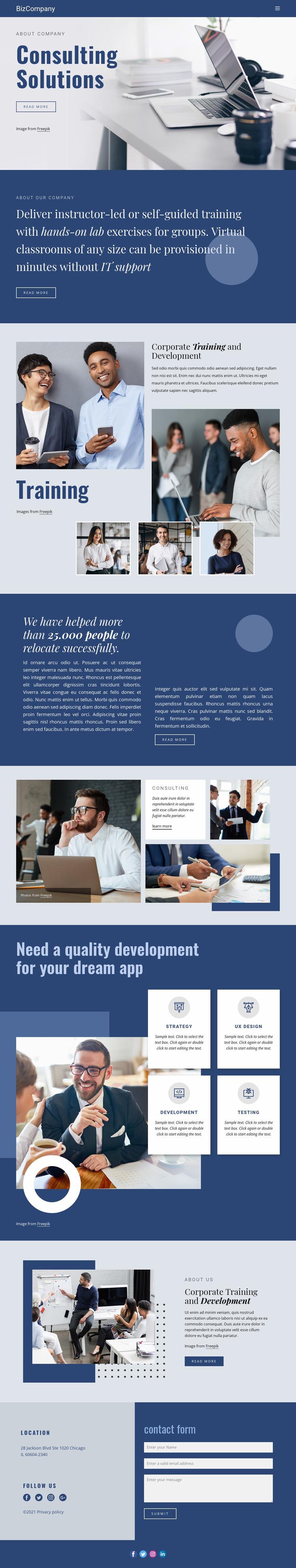 Training and professional development Website Mockup