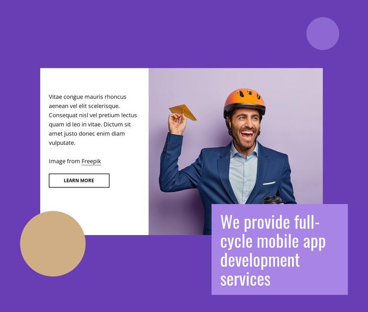 Full cycle mobile app development WordPress Theme