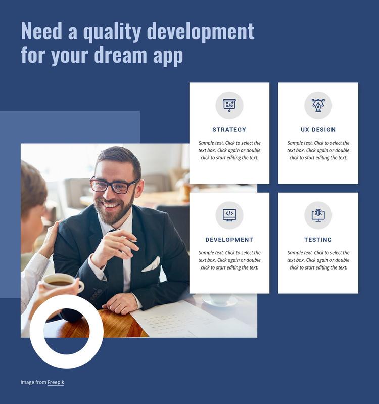 Quality development for your app Joomla Template