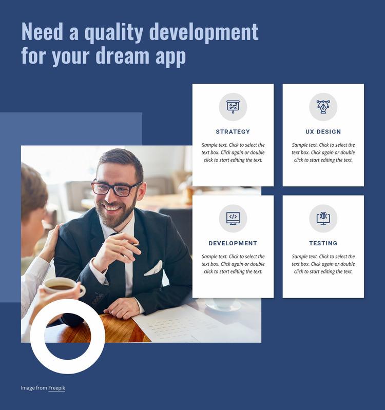 Quality development for your app Website Mockup