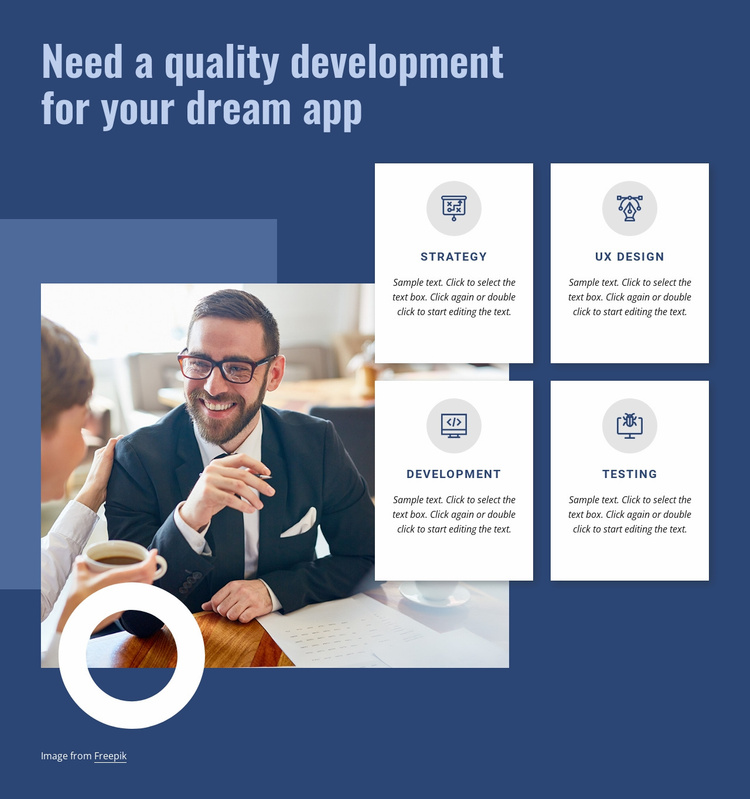 Quality development for your app Website Template