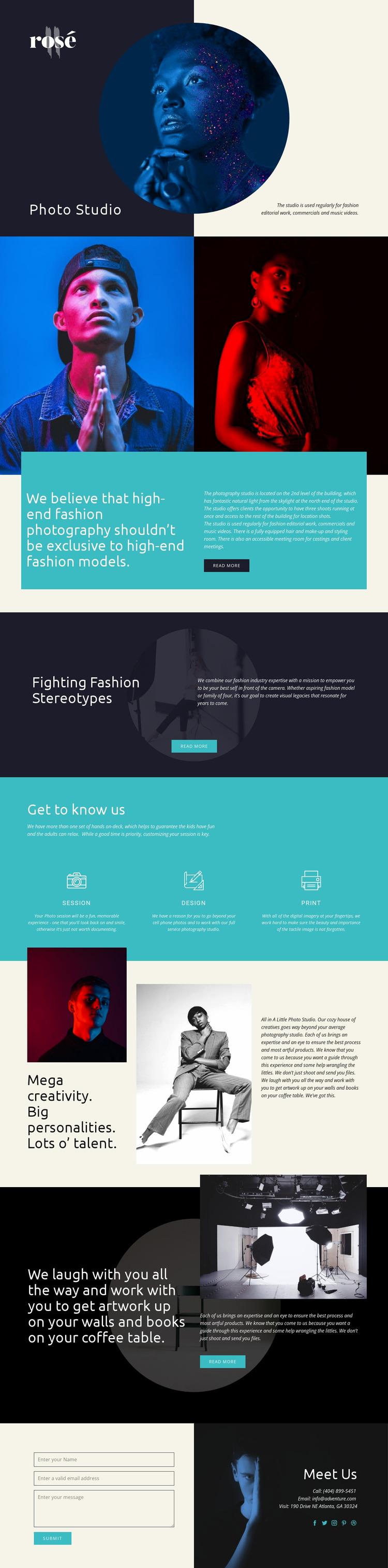 Rose Website Mockup