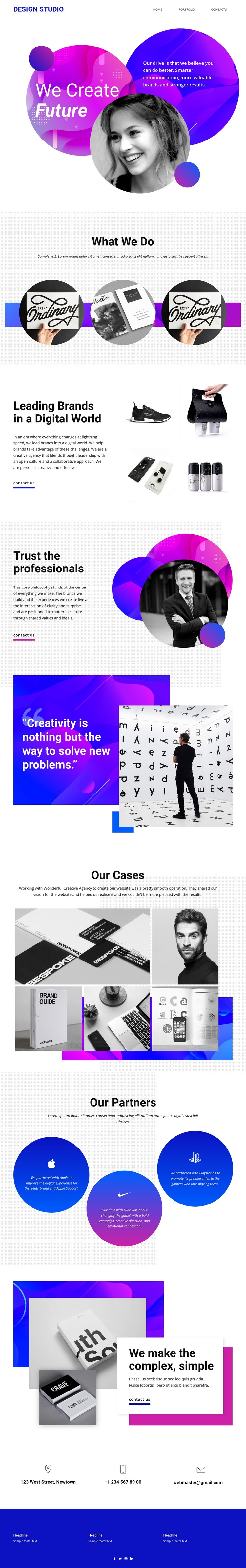 Content creation studio design Website Creator