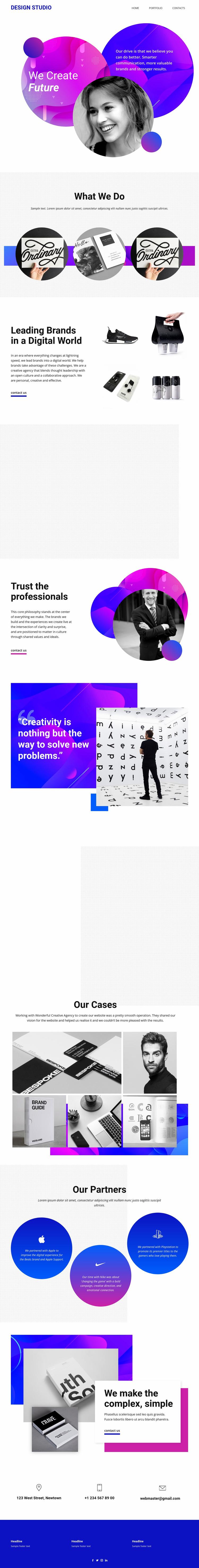 Content creation studio design Website Template