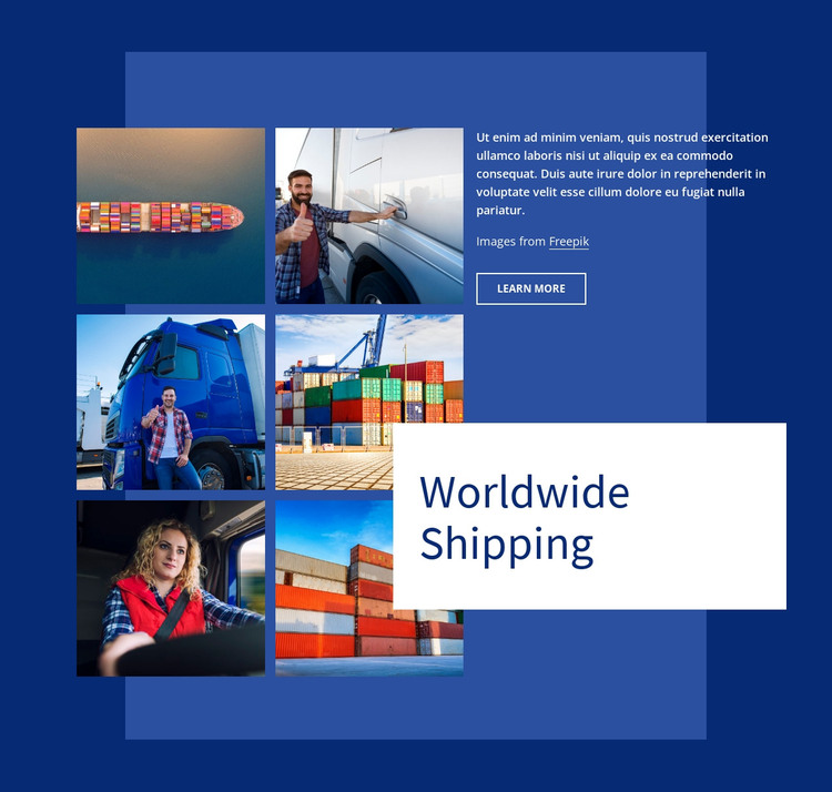 Worldwide shipping Web Design