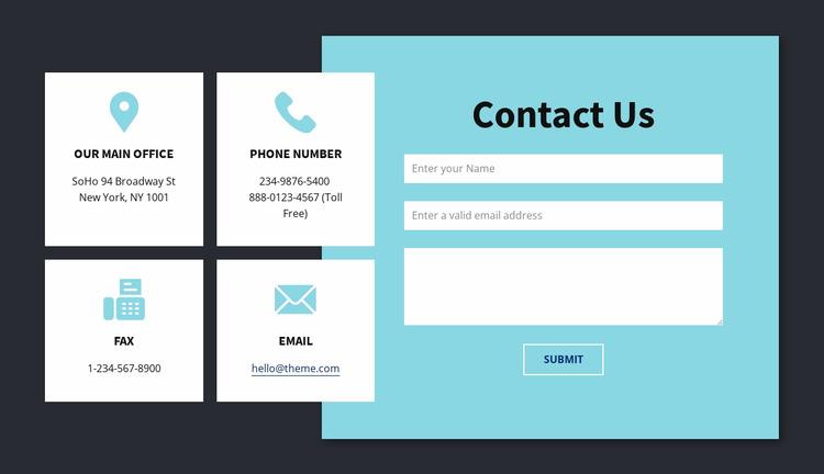 Contact info block Html Website Builder
