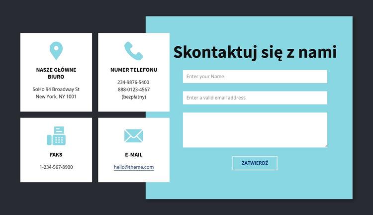 Blok informacji kontaktowych Szablon witryny sieci Web