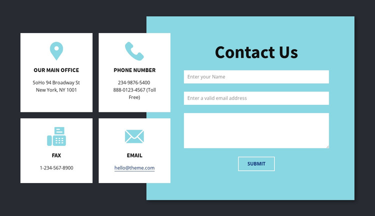 Contact info block Woocommerce Theme
