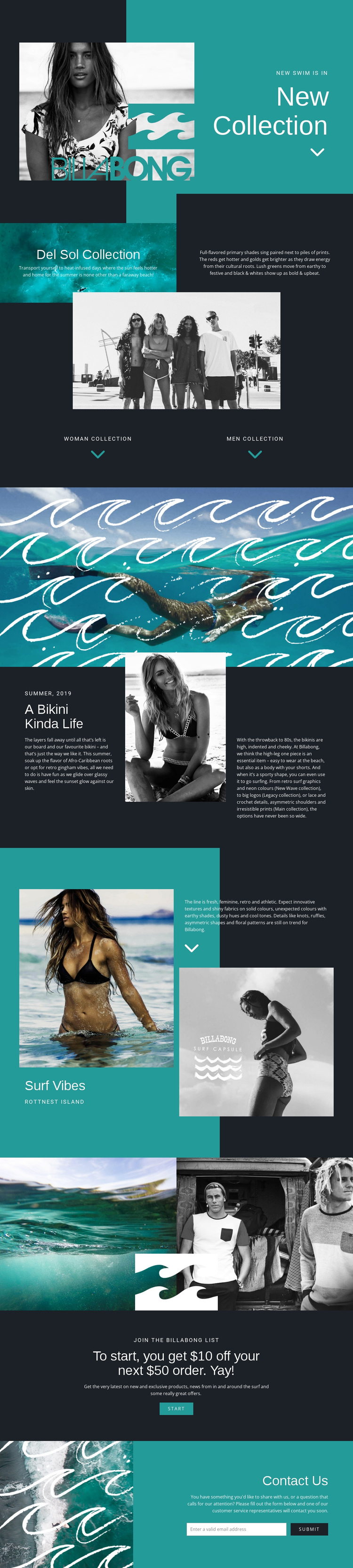 Billabong One Page Template