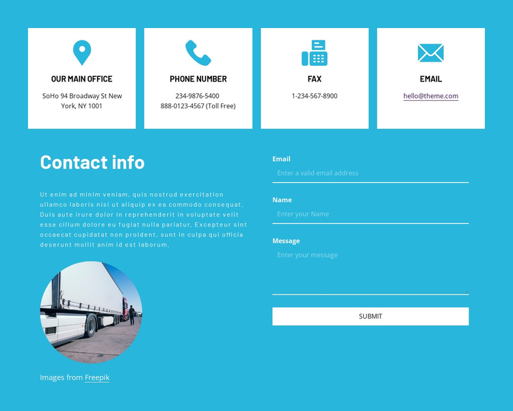Contact information with icons Joomla Template