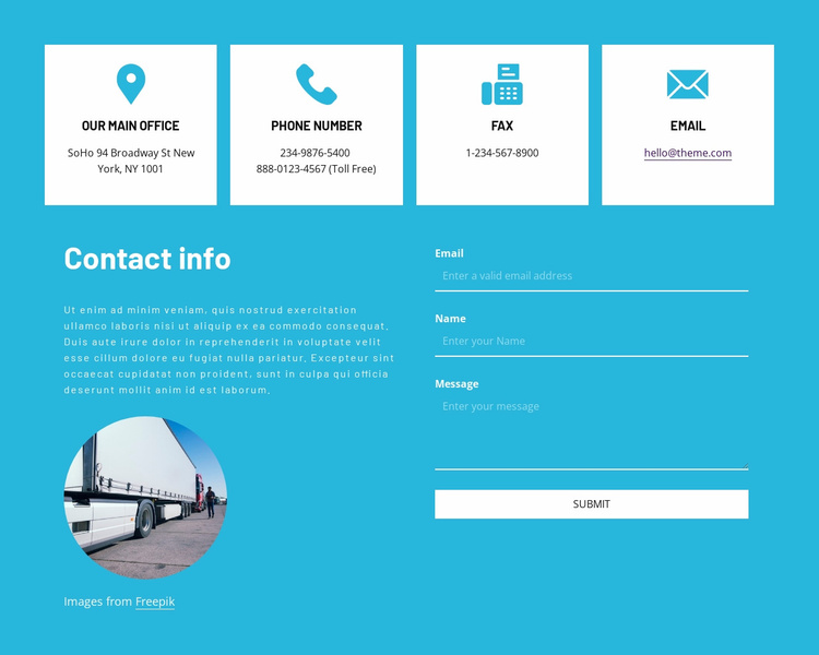 Contact information with icons Website Template