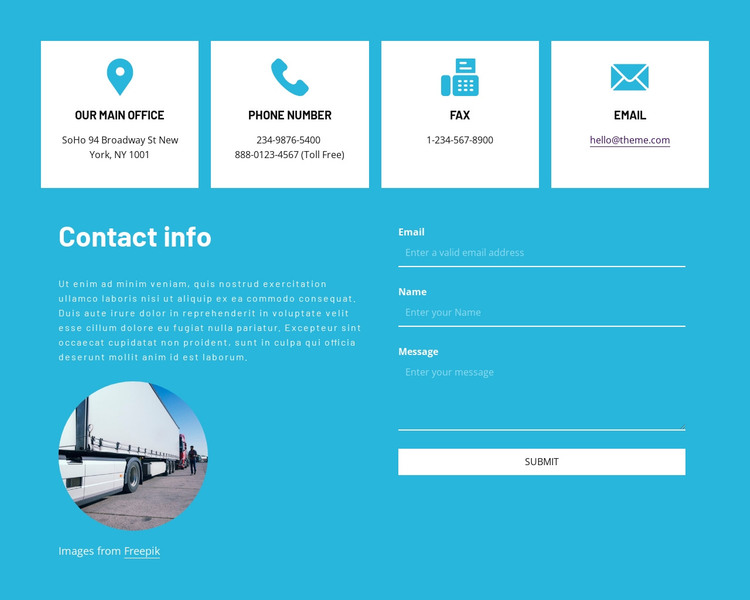 Contact information with icons WordPress Theme