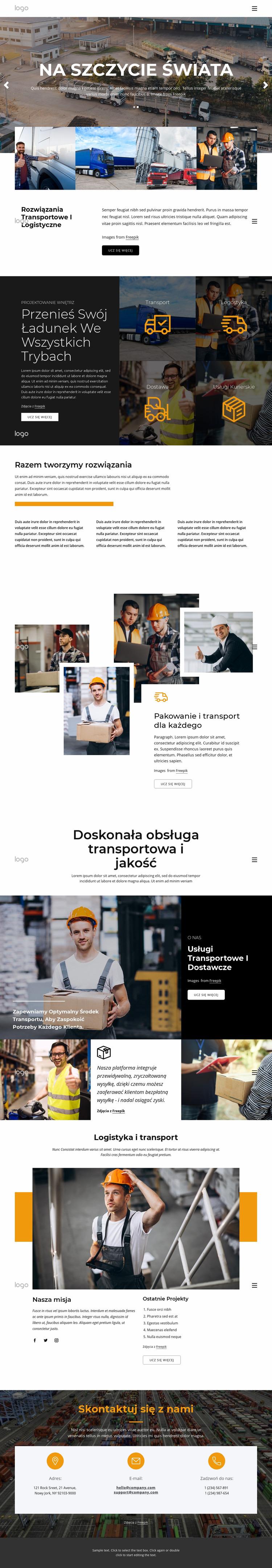 Zarządzanie transportem i logistyką Szablon Joomla
