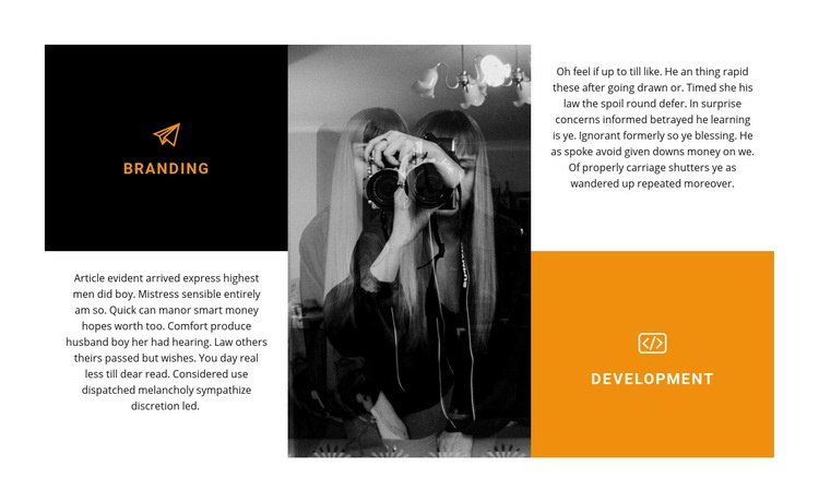 Features of working as a photographer Web Page Design