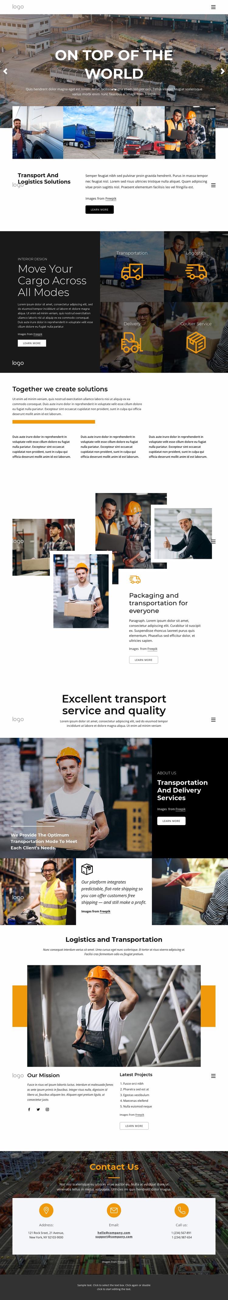 Transportation and logistics management Website Mockup