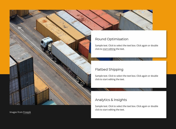 Container shipping company Web Page Design
