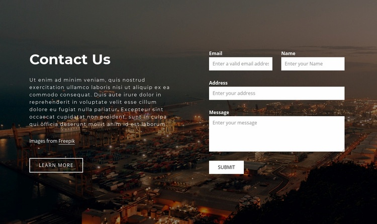 Contact form with image background Homepage Design