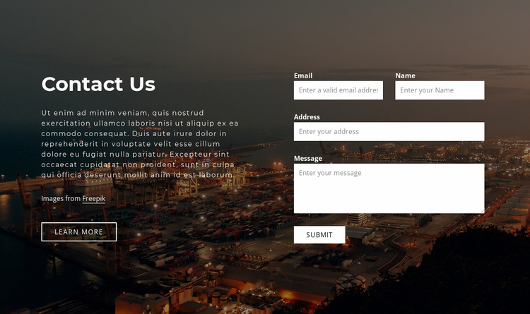 Contact form with image background Website Design