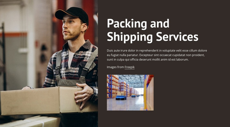 Packing and shipping services Web Page Design