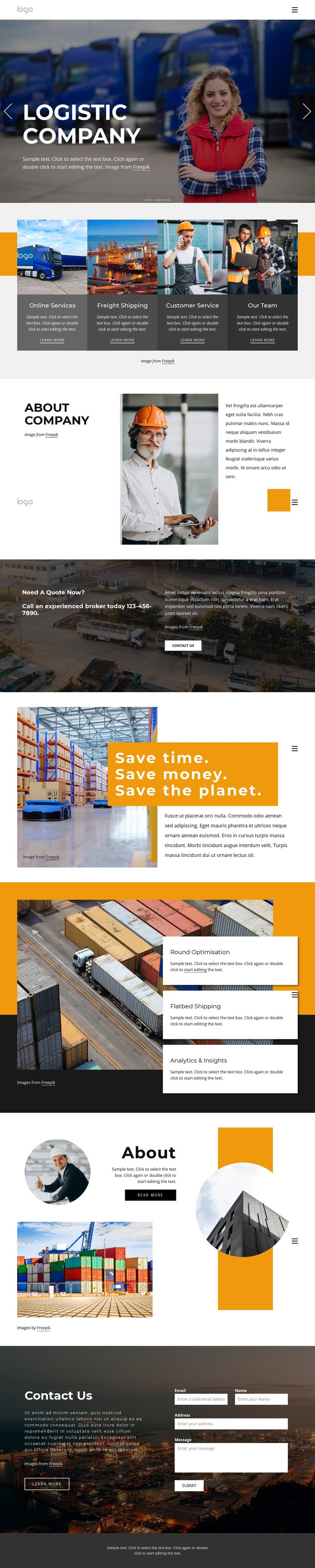Shipping services and logistics Web Page Design
