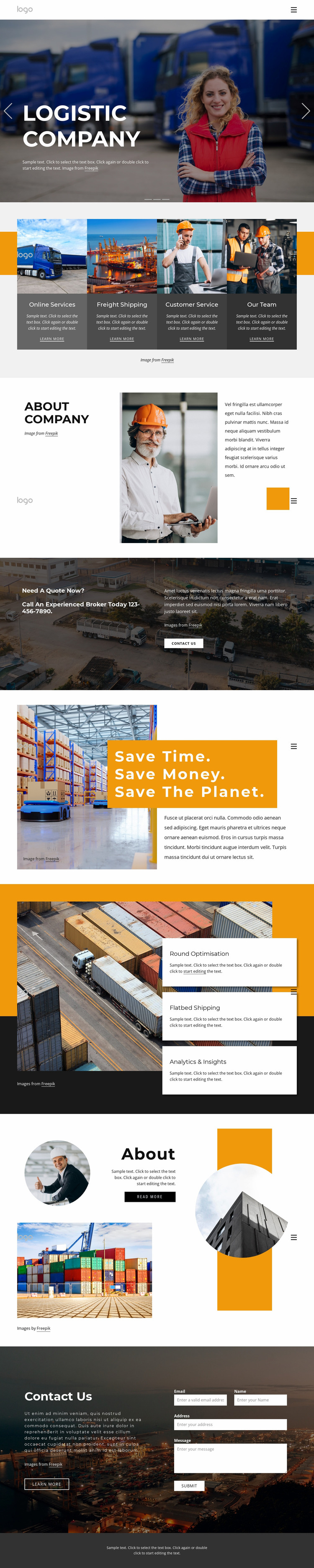 Shipping services and logistics Website Mockup