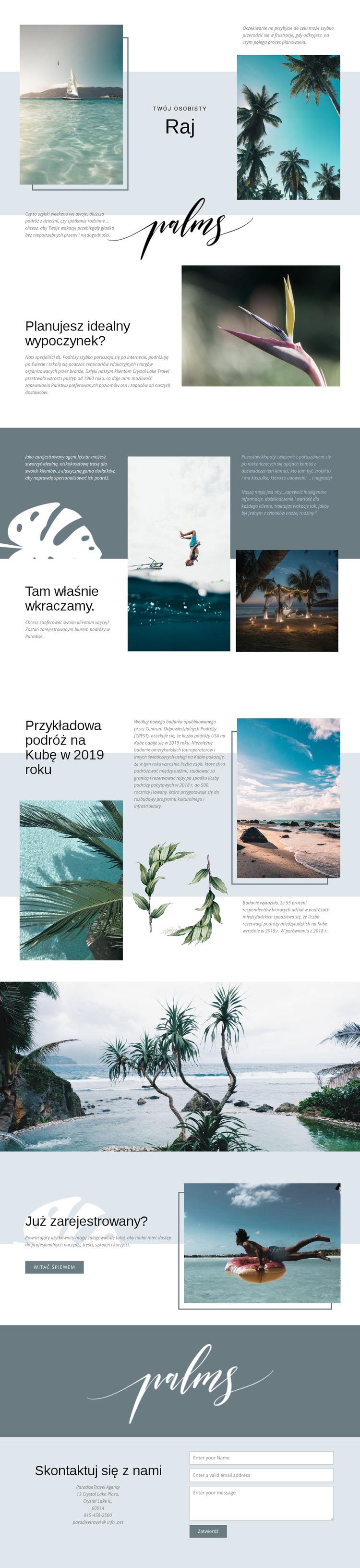 Podróżuj po raju Szablon witryny sieci Web