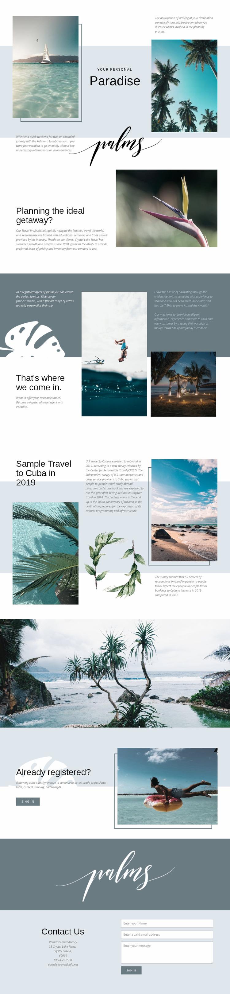 Travel in Paradise Website Mockup