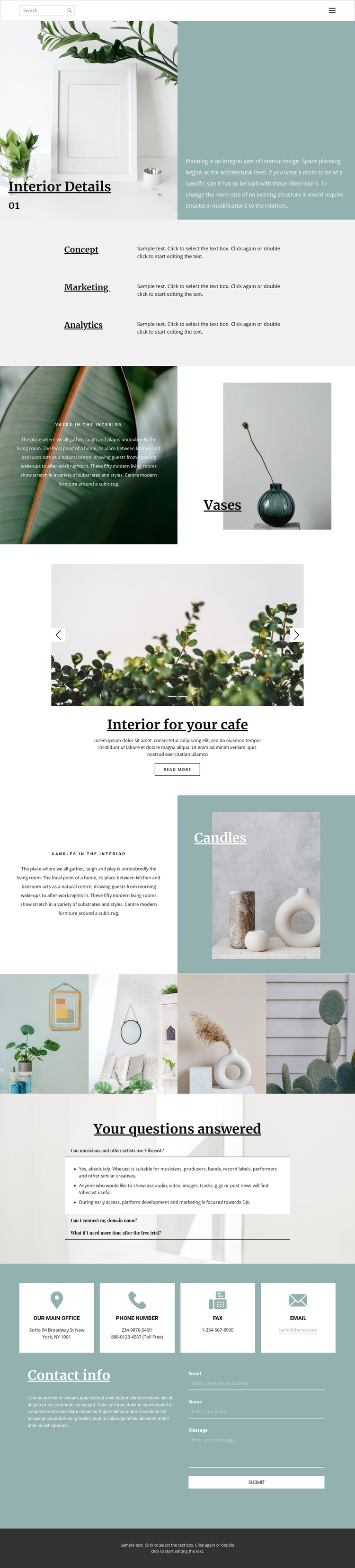 Help in organizing the space at home Website Builder Software