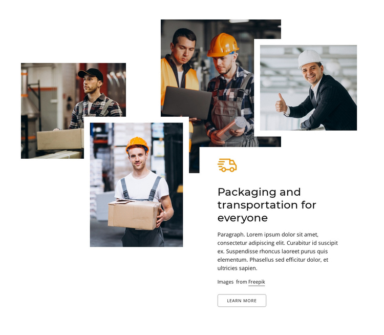 Packaging and transportation for everyone One Page Template