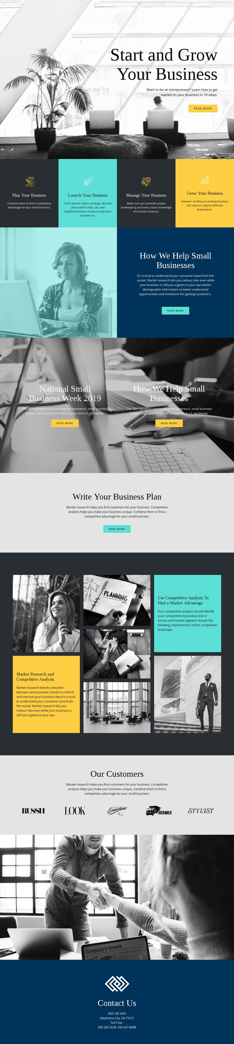 Start and grow your business Homepage Design