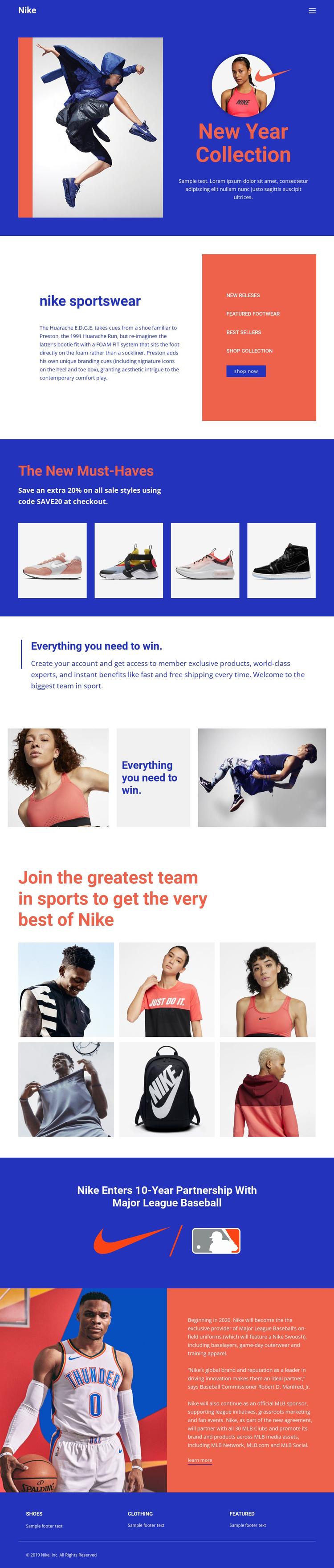 Nike sportwear One Page Template