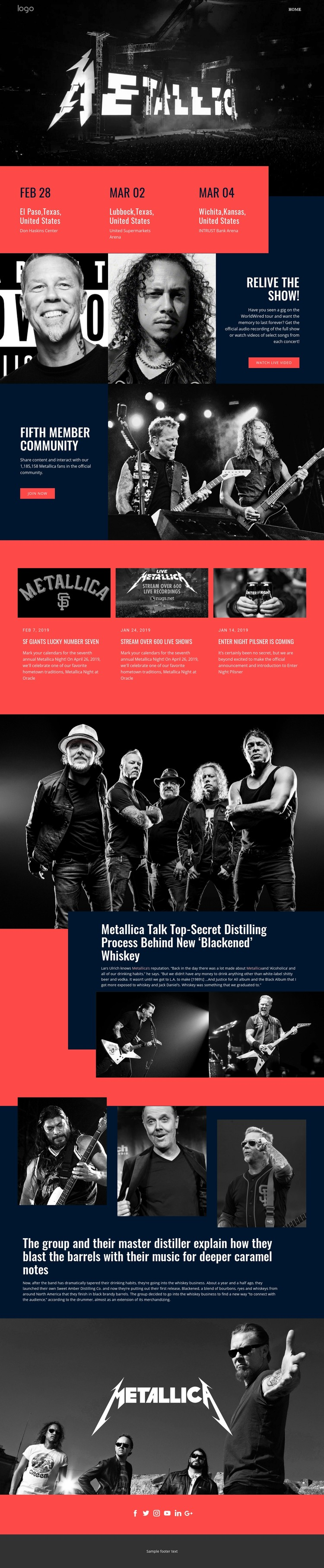 Happy with Metallica music Website Creator