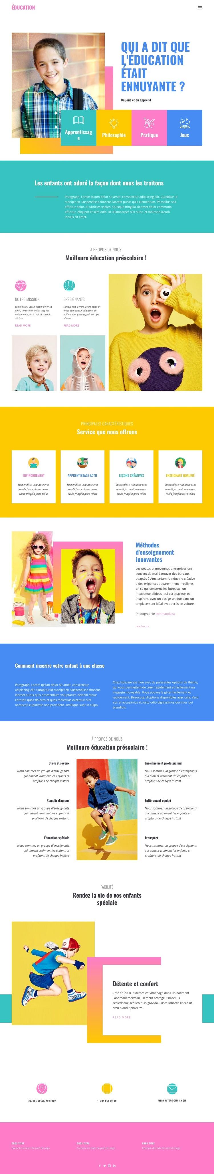 Le bonheur de la meilleure éducation Modèle de site Web