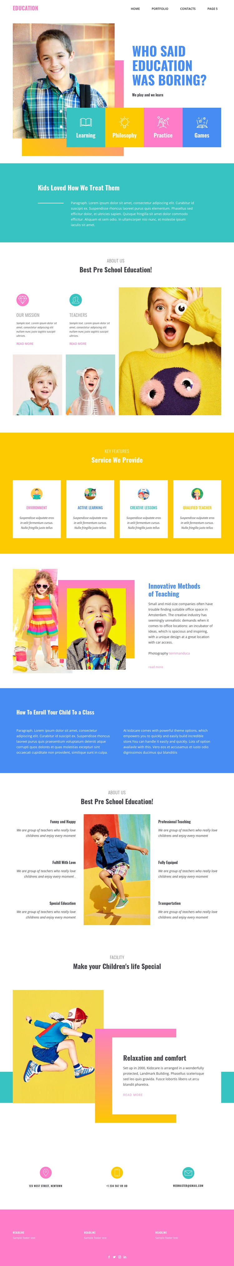 Happiness of best education HTML Template