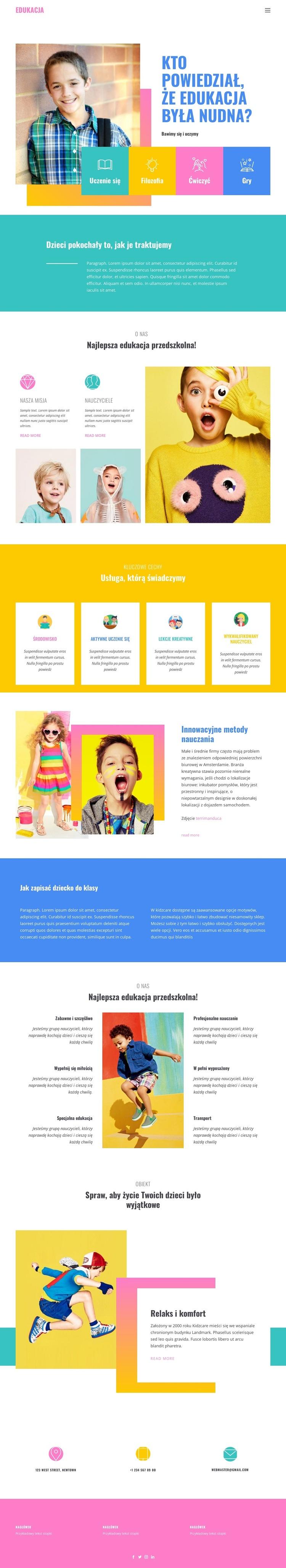 Szczęście z najlepszej edukacji Szablon witryny sieci Web
