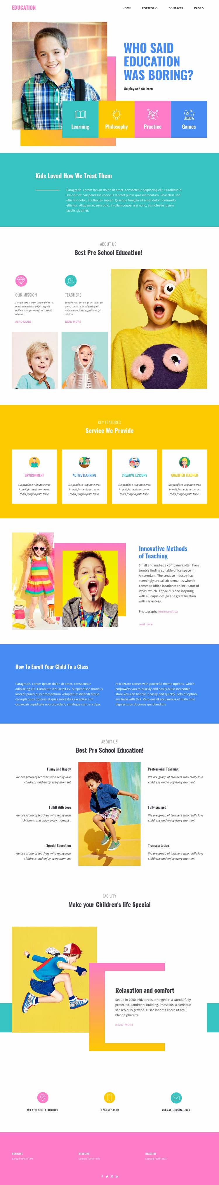 Happiness of best education Website Mockup
