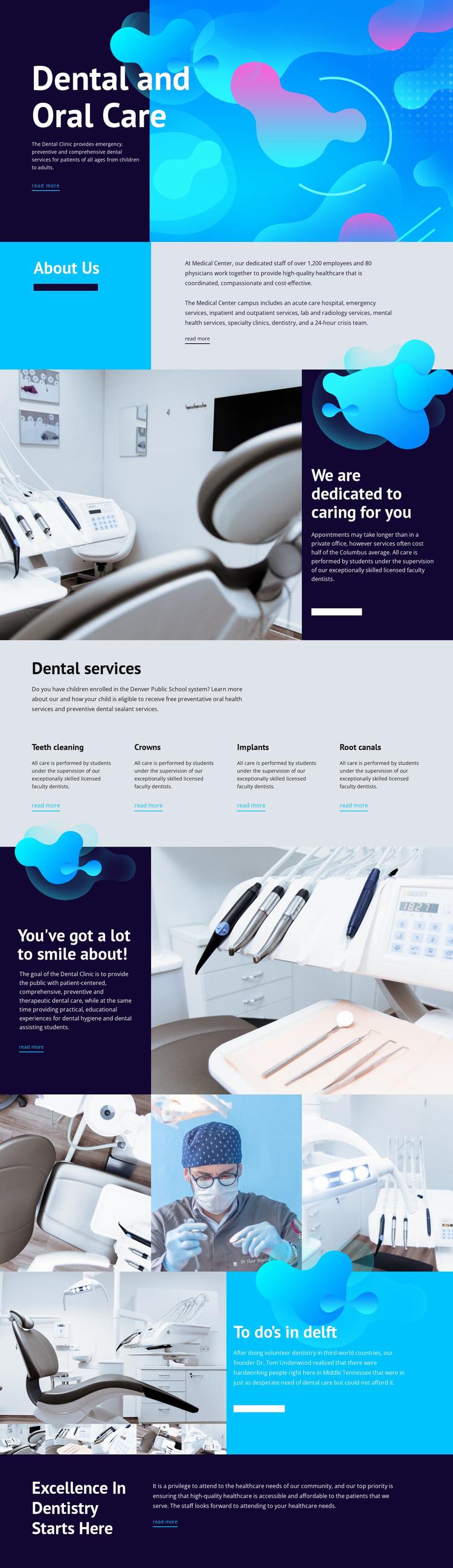 Oral care and dental medicine Website Mockup