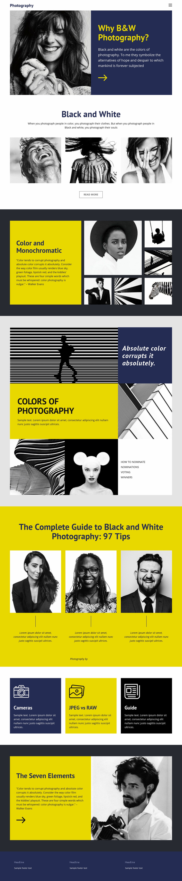 Black and white photos Landing Page