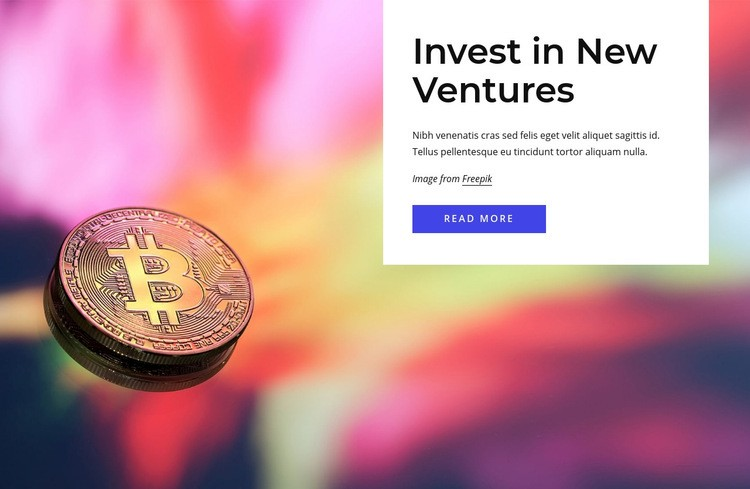 Invest in new ventures Web Page Design